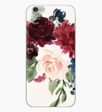 Burgundy Navy Floral Watercolor  iPhone Case