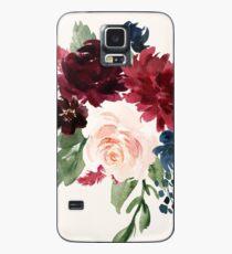 Burgunder Navy Floral Aquarell Hülle & Skin für Samsung Galaxy