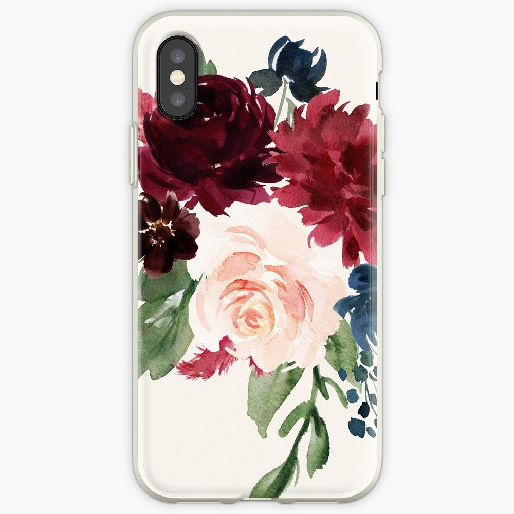 Burgundy Navy Floral Watercolor  iPhone Case & Cover