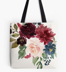 Burgunder Navy Floral Aquarell Tote Bag