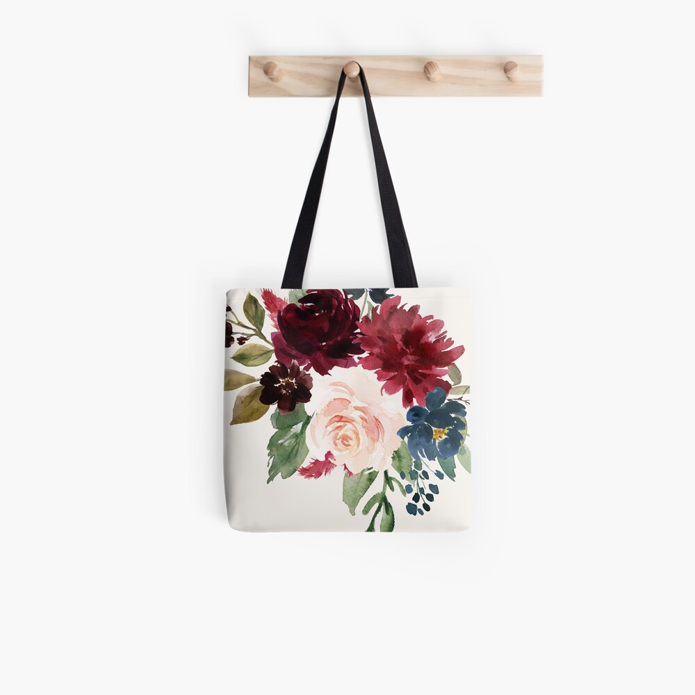 Burgundy Navy Floral Watercolor  Tote Bag