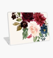 Burgundy Navy Floral Watercolor  Laptop Skin