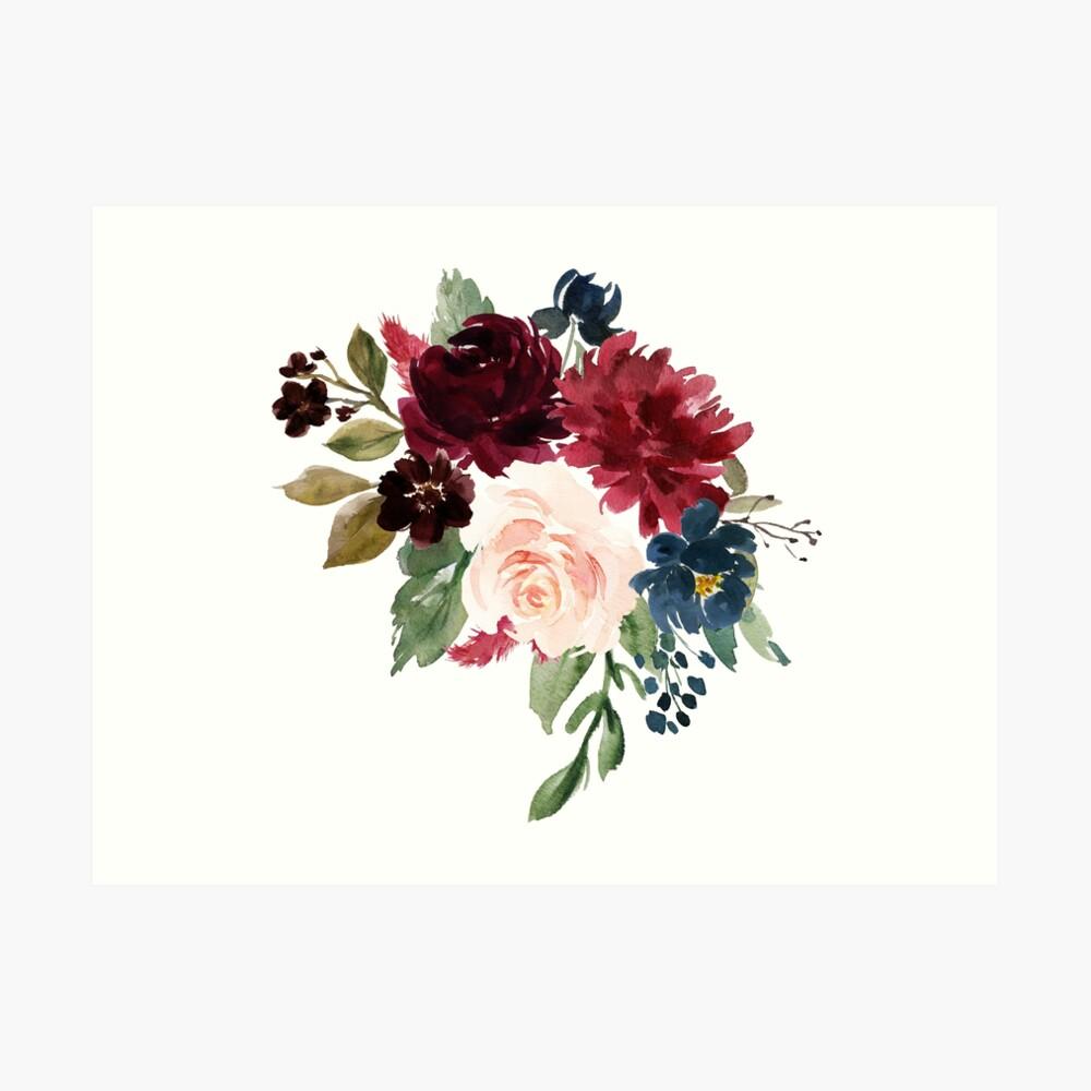 Burgundy Navy Floral Watercolor  Art Print