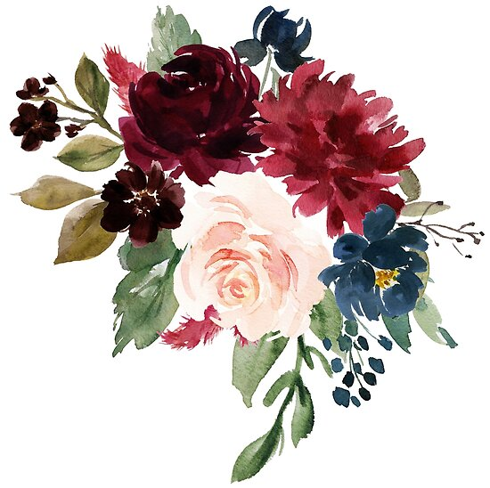 Quot Burgundy Navy Floral Watercolor Quot Posters By Junkydotcom