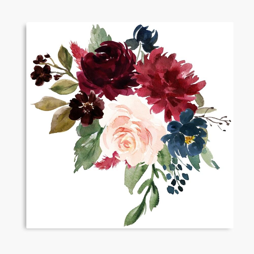 Burgundy Navy Floral Watercolor  Canvas Print