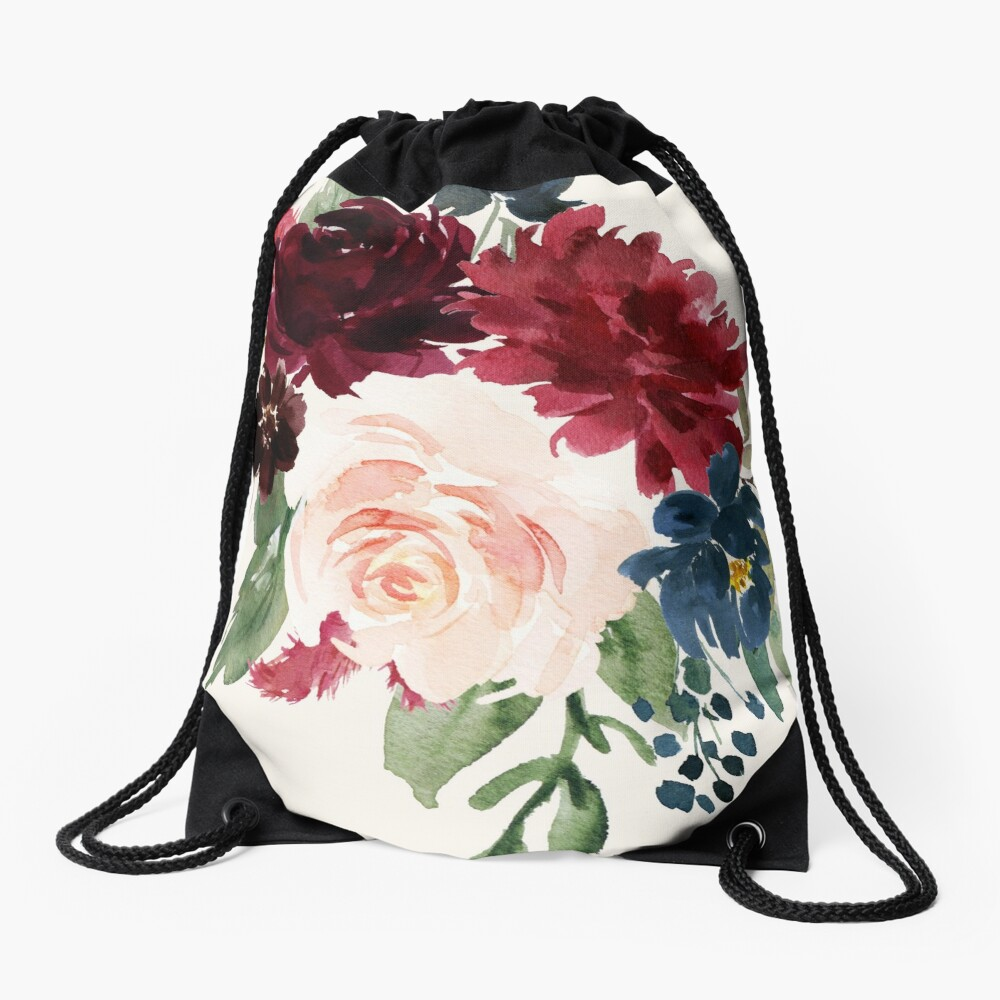 Burgundy Navy Floral Watercolor  Drawstring Bag