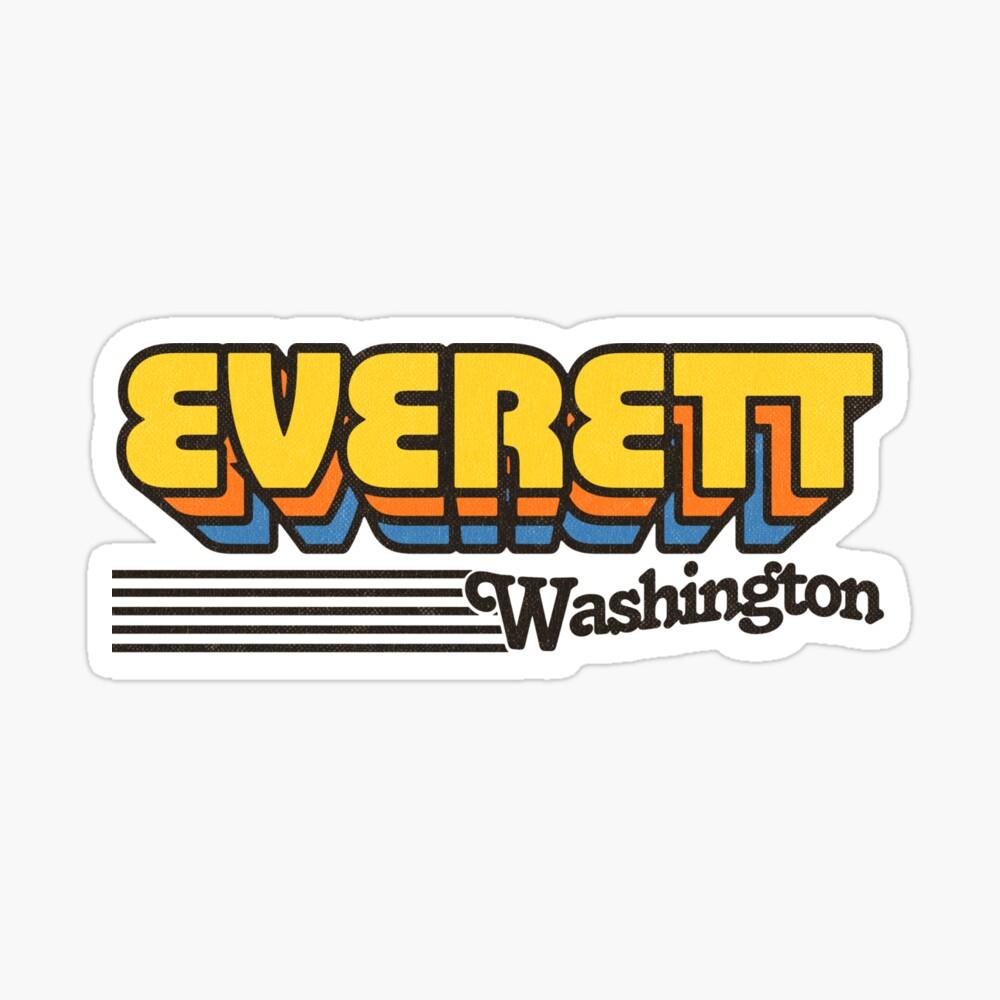 Everett, Washington | Retro Stripes Sticker