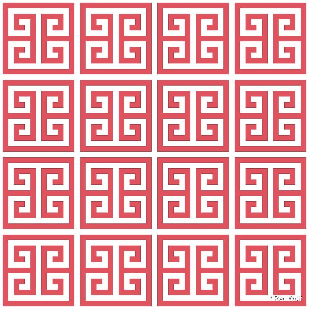 Geometric Pattern: Key Bridge: Red by * Red Wolf
