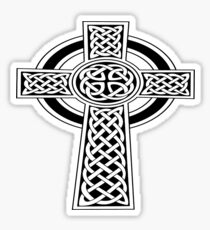 St Patrick's Day Celtic Cross Black and White Sticker
