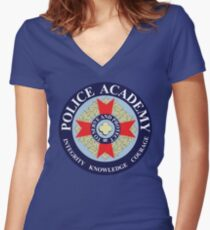 Police Academy Women's Fitted V-Neck T-Shirt