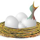 Hungry little bird and eggs in the nest by siloto