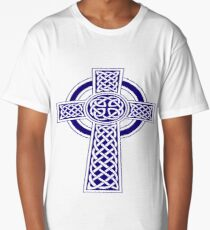 St Patrick's Day Celtic Cross Blue and White Long T-Shirt