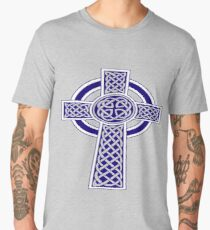 St Patrick's Day Celtic Cross Blue and White Men's Premium T-Shirt