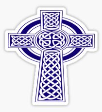 St Patrick's Day Celtic Cross Blue and White Sticker