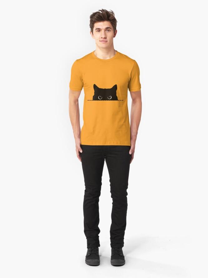 Vista alternativa de Camiseta ajustada Black Cat Peeking