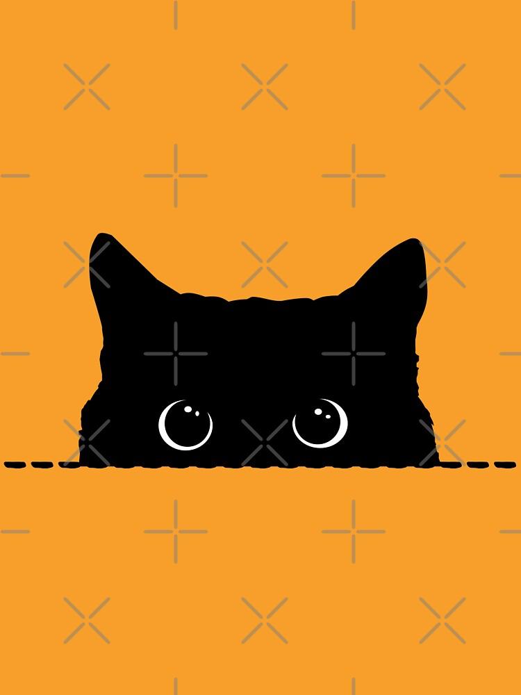 Black Cat Peeking de nameonshirt