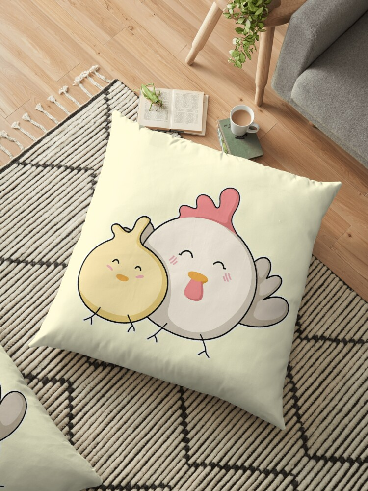 Cute Kawaii Mother Hen and Chick by Fiona Reeves