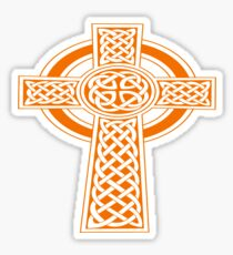St Patrick's Day Celtic Cross Orange and White Sticker