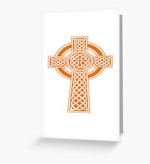 St Patrick's Day Celtic Cross Orange and White Greeting Card