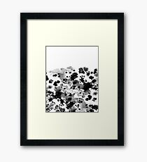 Mona - Black and White Painted Spots, painterly, abstract, monochrome cell phone case Framed Print