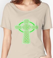 St Patrick's Day Celtic Cross Green and White Women's Relaxed Fit T-Shirt