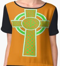 St Patrick's Day Celtic Cross Green and White Chiffon Top