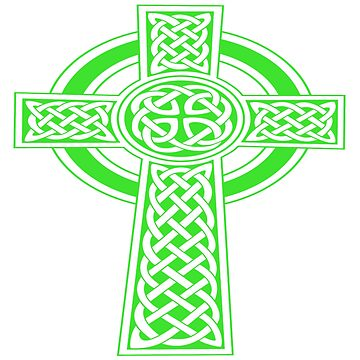 St Patrick's Day Celtic Cross Green and White by taiche