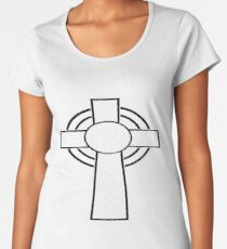 St Patrick's Day Celtic Cross White and Black  Women's Premium T-Shirt
