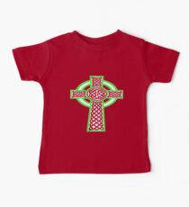 St Patrick's Day Celtic Cross White and Green Baby Tee