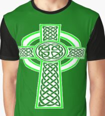 St Patrick's Day Celtic Cross White and Green Graphic T-Shirt