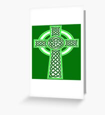 St Patrick's Day Celtic Cross White and Green Greeting Card