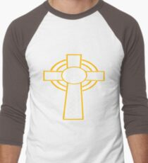 St Patrick's Day Celtic Cross White And Orange Men's Baseball ¾ T-Shirt