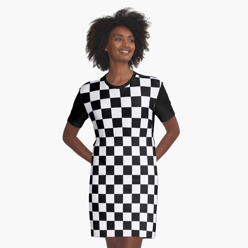 CHECK, Pattern, Checks, Checkered, Black & white Graphic T-Shirt Dress Front