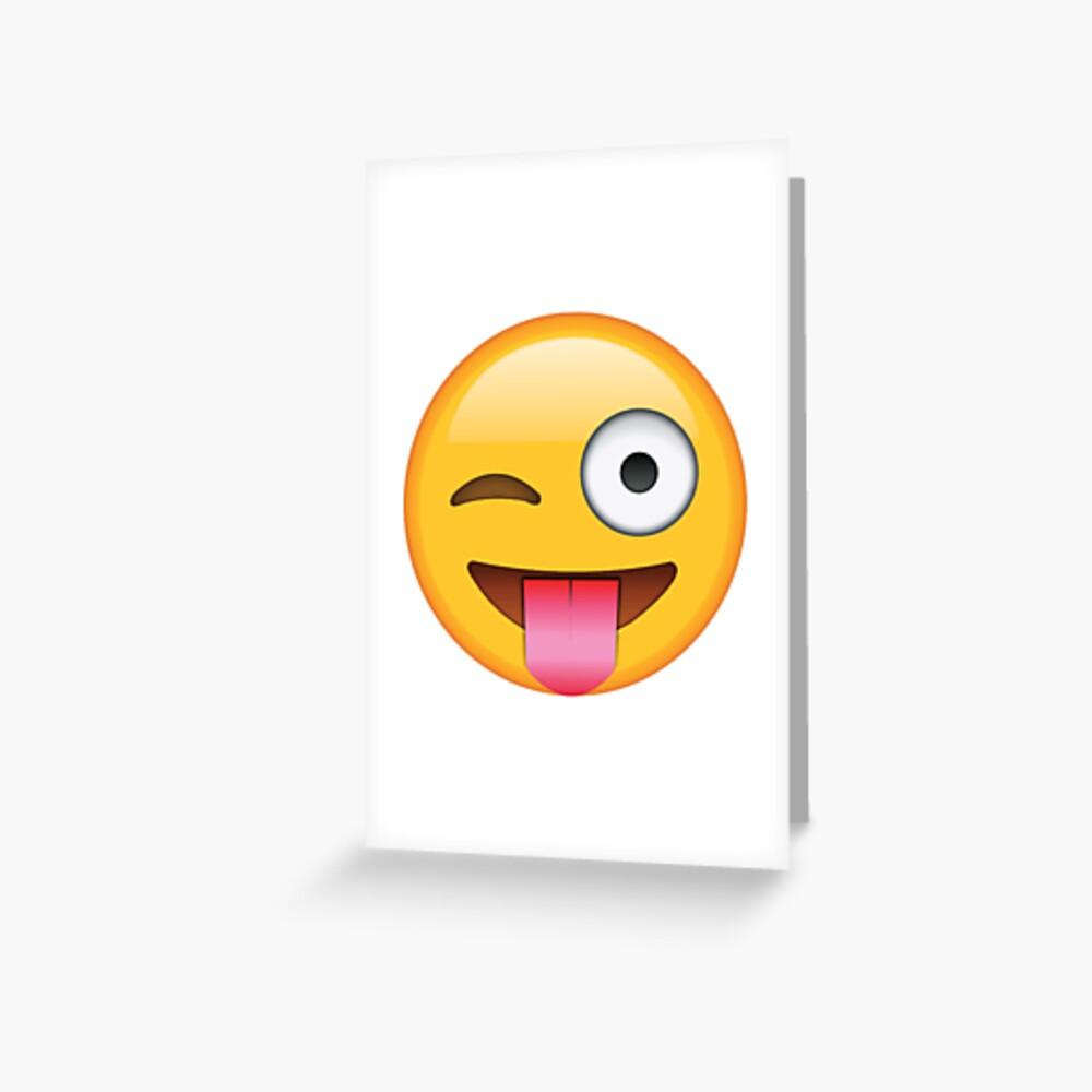 zwinkert Zunge aus Emoji Grußkarte