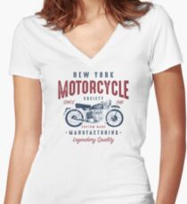 New York Motorcycle Retro Vintage Women's Fitted V-Neck T-Shirt