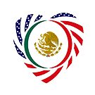 Mexican American Multinational Patriot Flag Series (Heart) by Carbon-Fibre Media