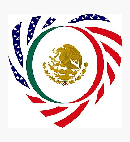 Mexican American Multinational Patriot Flag Series (Heart) Photographic Print