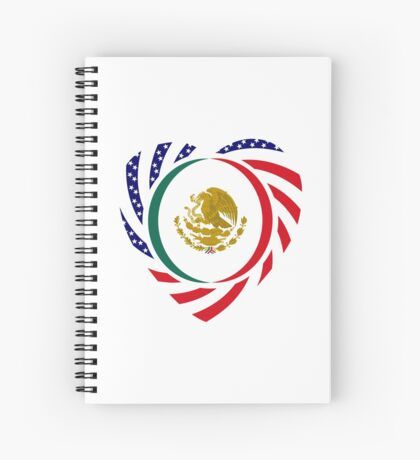 Mexican American Multinational Patriot Flag Series (Heart) Spiral Notebook