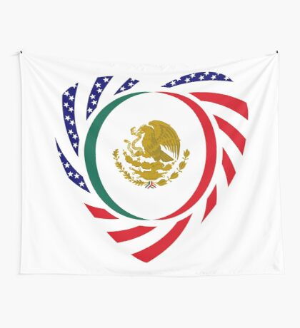 Mexican American Multinational Patriot Flag Series (Heart) Wall Tapestry