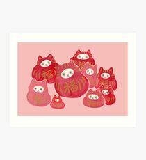 Good Luck Cat Darumas Art Print