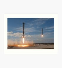 SpaceX Falcon Heavy Boosters Landing (8K resolution) Art Print