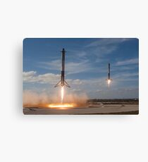 SpaceX Falcon Heavy Boosters Landing (8K resolution) Canvas Print