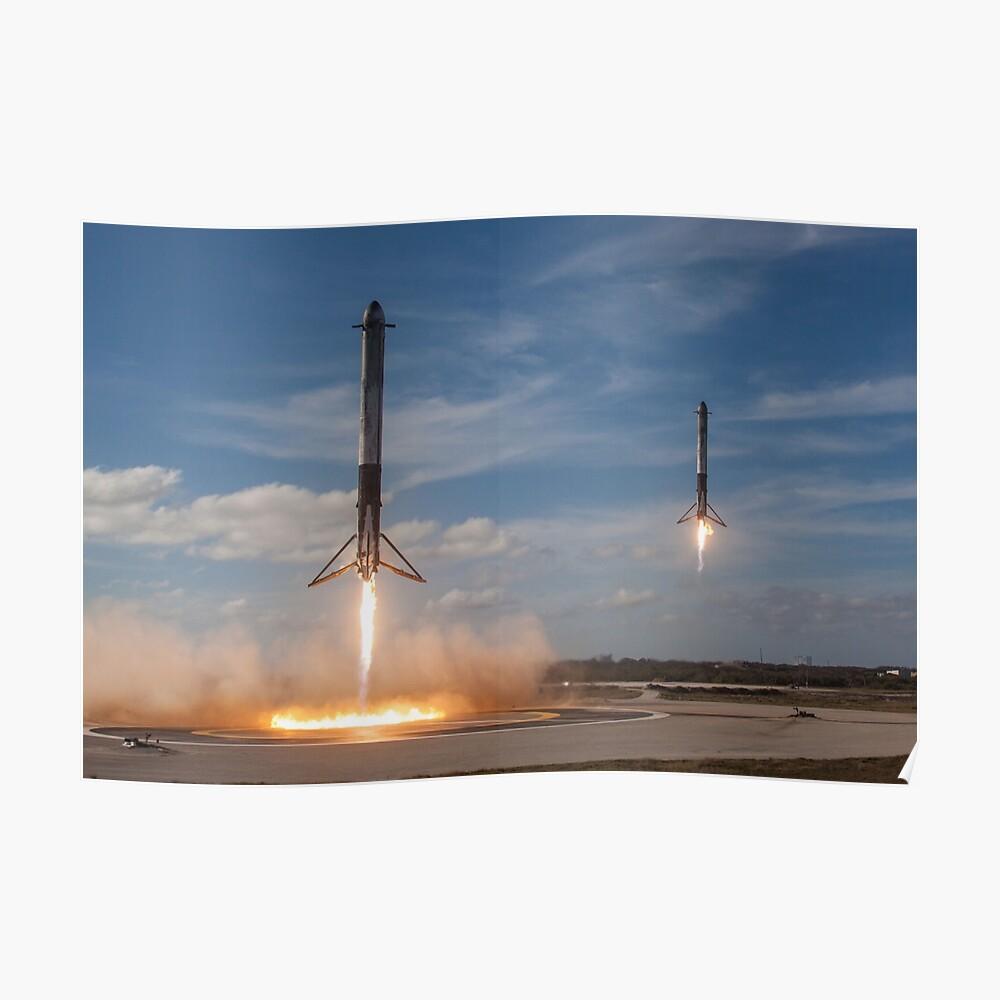 SpaceX Falcon Heavy Booster Landung (8K Auflösung) Poster