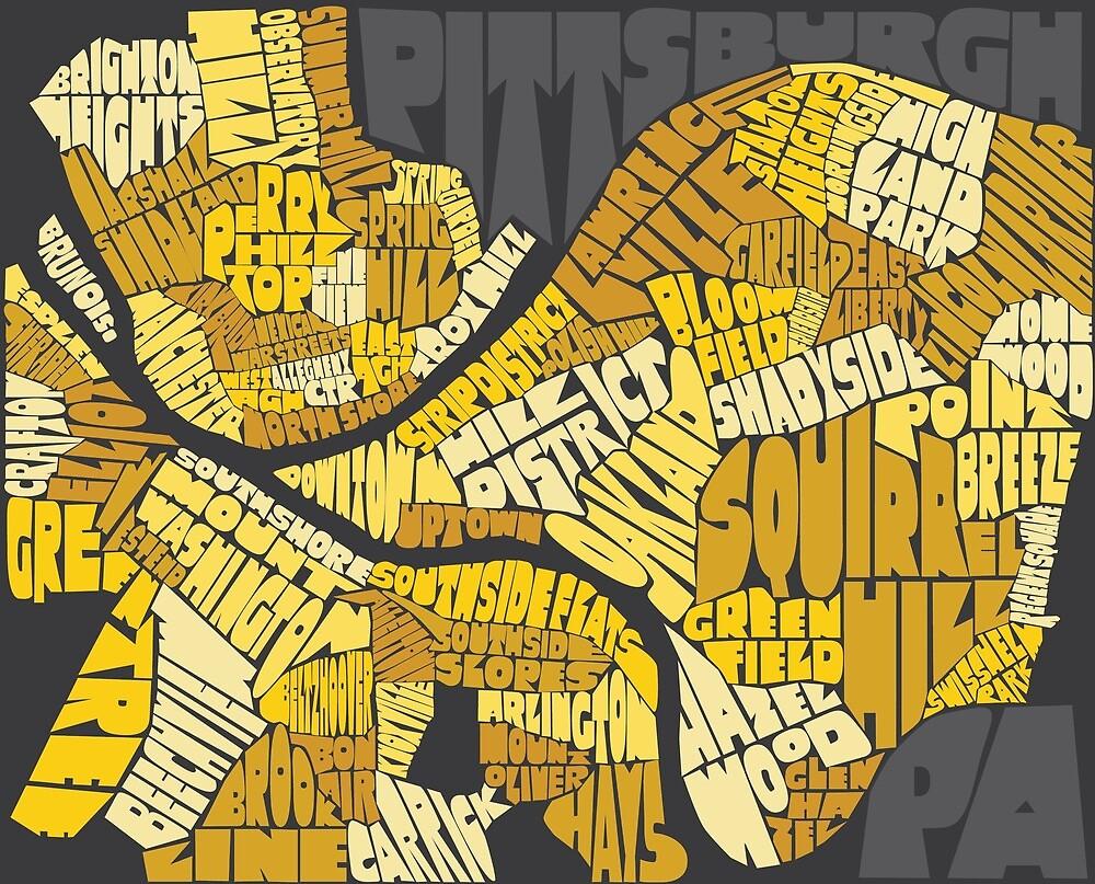 Pittsburgh Neighborhood Map by Sydney Koffler