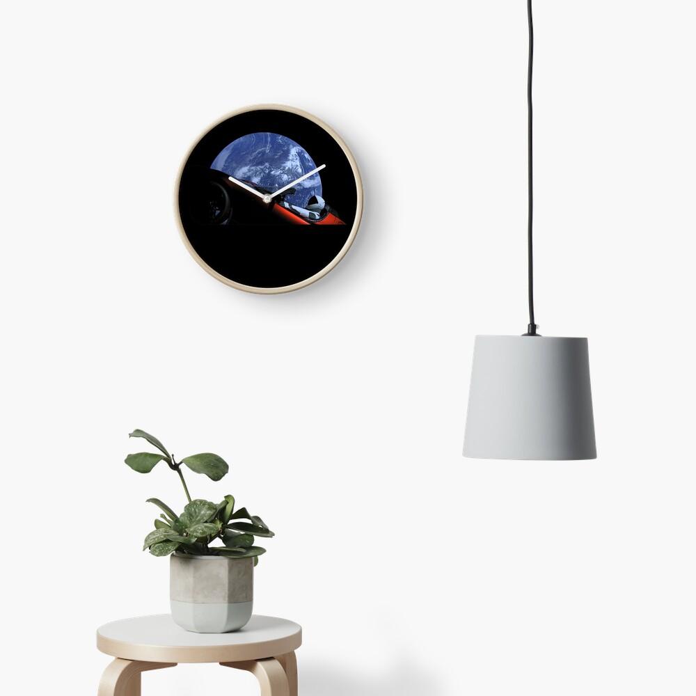 Starman in Tesla Roadster in Space Clock