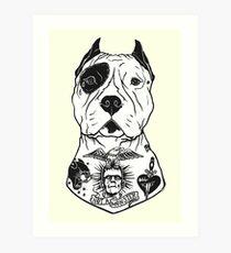 American Pitbull Tattooed Art Print