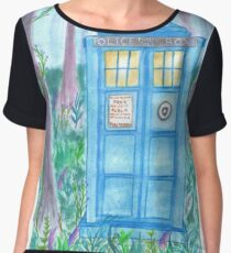 Tardis in the woods. (Doctor Who) Chiffon Top