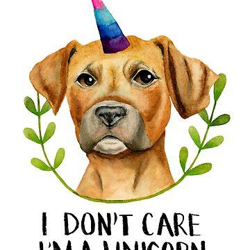 """I'M A UNICORN"" Funny Pit Bull Dog Illustration by namibear"