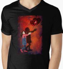 The love Balloons and little Girl Men's V-Neck T-Shirt