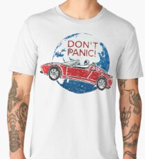 Don't Panic! - a tribute to Elon Musk, Spaceman and the Red Roadster Men's Premium T-Shirt